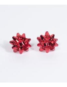 Red Metal Gift Wrap Bow Post Earring by Unique Vintage