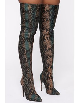 In Motion Heeled Boots   Blue Snake by Fashion Nova