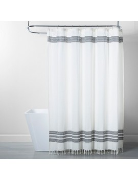 Stripe Fringe Shower Curtain White/Gray   Threshold™ by Threshold
