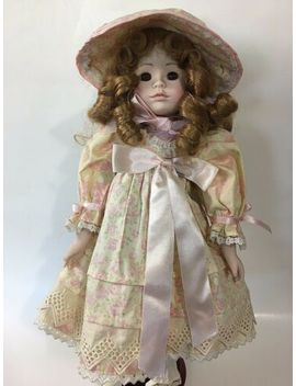 Mundia Porcelain Doll 1992 Vintage Christine Cecile Pink Floral Dress Bonnet Wk by Mundia