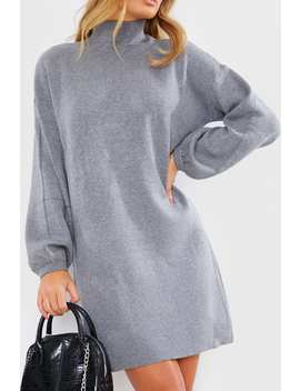 Grey High Neck Oversized Knitted Mini Jumper Dress by In The Style
