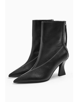 Mara Leather Black Point Boots by Topshop