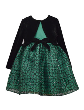Toddler Girl Bonnie Jean Sparkle Mesh Waistline Dress With Separate Stretch Velvet Cardigan by Bonnie Jean