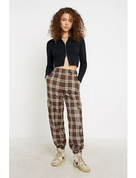 Uo Brown Check Utility Jogger Trousers by Urban Outfitters