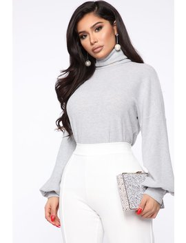 Baby It's Cold Outside Turtleneck Top   Heather Grey by Fashion Nova
