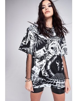Monochrome Print Oversized T Shirt by Jaded London