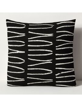 Sadza Batik Lines Pillow Cover   Black by West Elm