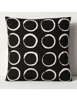 Sadza Batik Circles Pillow Cover   Black by West Elm
