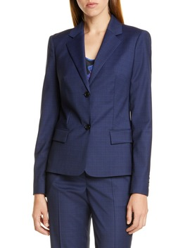 Jarana Rich Check Wool Suit Jacket by Boss