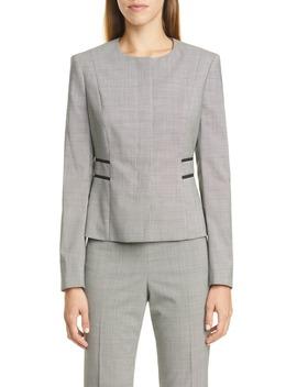 Javilla Minidessin Stretch Wool Collarless Jacket by Boss