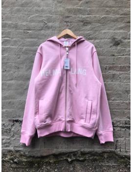 Helmut Lang Logo Zip Up Hoodie Pink S/M by Helmut Lang  ×