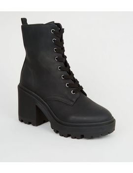 Black Leather Look Chunky Block Heel Boots by New Look
