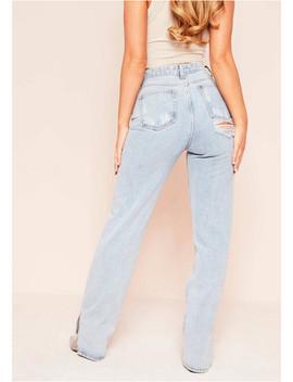 Praise Denim Bleach Wash Split Hem Distressed Jeans by Missy Empire