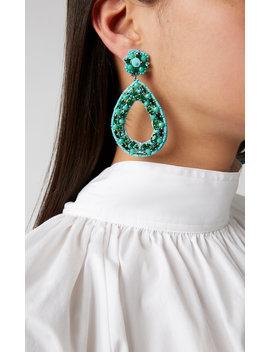 Bead Embellished Brass Drop Earrings by Ranjana Khan