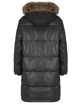 Black Faux Leather Parka Coat by Mint Velvet