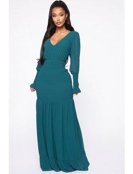 Southern Drawl Smocked Maxi Dress   Hunter by Fashion Nova