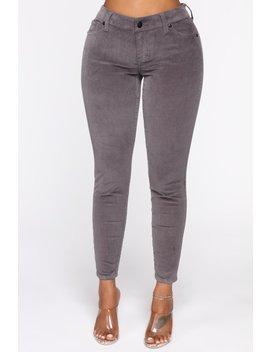 I'm Down Low Rise Corduroy Pants   Grey by Fashion Nova