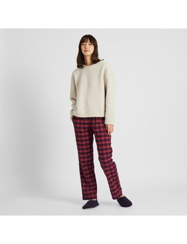 Women Flannel Stretch Tartan Checked Trousers by Uniqlo