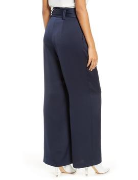 High Waist Wide Leg Satin Pants by Eliza J