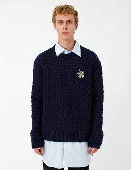 Fine Open Knitted Honey Stitch Sweater With 1 Ring by Raf Simons