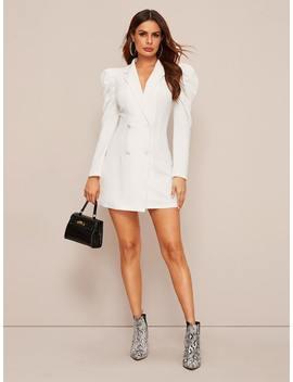 SheinDouble Button Gigot Sleeve Blazer Dress by Shein