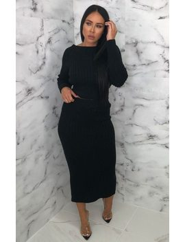 Black Knitted Crop Top Maxi Skirt Co Ord   Voss by Femme Luxe
