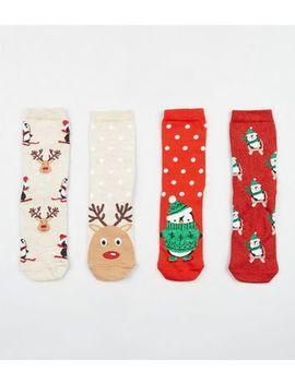 4 Pack Multicoloured Penguin Reindeer Christmas Socks by New Look