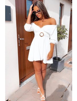 White Plunge Crepe Belted Dress   Baily by Rebellious Fashion