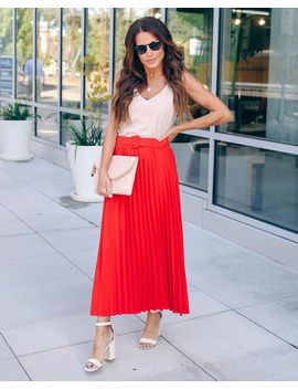 High Note Pleated Belted Midi Skirt   Red   Final Sale by Vici