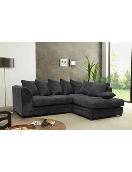 New Jumbo Cord Fabric Sofa Settee Couch Corner Or 3 &Amp; 2 Seater Grey Black Coffee by Ebay Seller