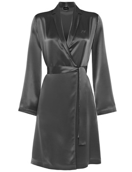 Silver Silk Short Robe by Silk