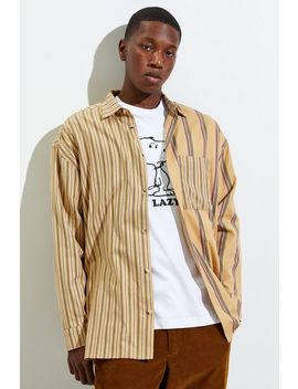 Uo Block Stripe Twill Button Down Shirt by Urban Outfitters