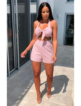 Baby Pink Halter Neck Bralette & Shorts Co Ord   Harlee by Femme Luxe