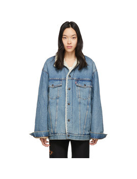 Blue Denim Sherpa Big & Tall Trucker Jacket by Levi's