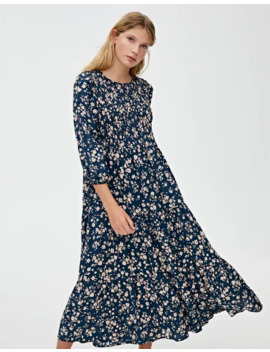 Ruched Floral Dress by Pull & Bear