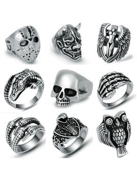 316 L Stainless Steel Fashion Silver Men's Punk Biker Rings Male Casting Jewelry by Unbranded