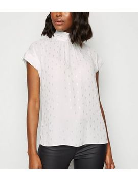 Off White Chiffon Metallic Spot Tie Back Blouse by New Look