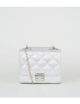 Silver Quilted Shimmer Chain Shoulder Bag by New Look