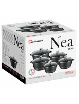 5pc Nonstick Die Cast Aluminium Casserole Stockpot Induction Pan Set Black Nea by Sq Professional