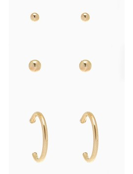 Sterling Silver Gold Plated Stud And Hoop Earrings Three Pack by Next