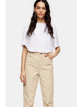 Ecrufarbene Mom Jeans Aus Cord by Topshop