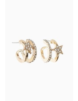 Gold Star Sparkle Hoop Earrings by Next