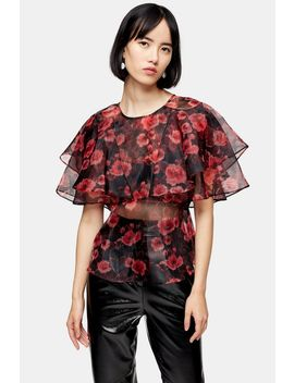 Floral Print Ruffle Sheer Organza Blouse by Topshop