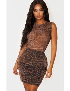 Shape Brown Croc Print Sheer Bodysuit by Prettylittlething