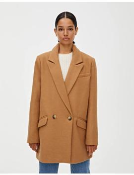 Двубортное пальто из синтетической шерсти by Pull & Bear