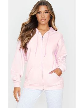 Baby Pink Fleece Zip Up Hoodie by Prettylittlething