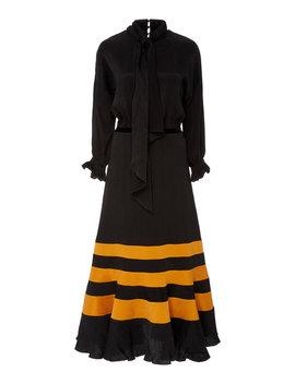 Scarf Detailed Striped Satin Midi Dress by Johanna Ortiz