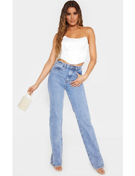 Tall Mid Wash  Split Hem Jeans  by Prettylittlething