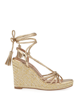 Savannah Metallic Wedge Espadrilles by Aquazzura