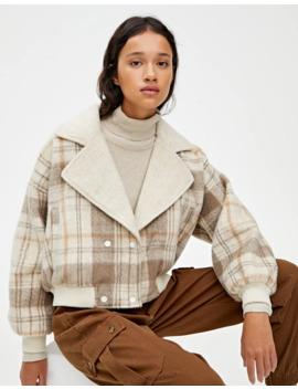 Укороченное пальто в клетку с лацканами by Pull & Bear